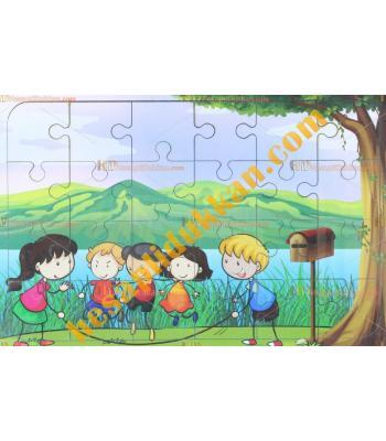 Toptan Ahşap puzzle parkta bir gün