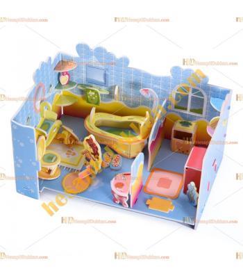 Toptan 3d puzzle cute bathroom 4 karton 79 parça