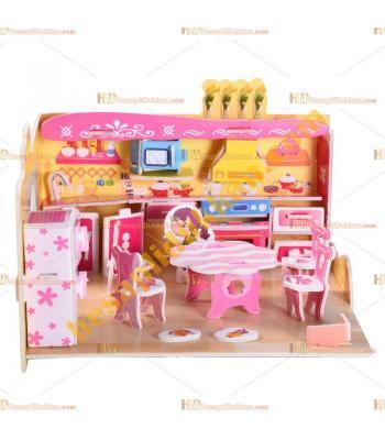 Toptan 3d puzzle eğlenceli mutfak 4 karton 81 parça