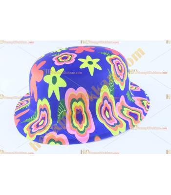 Toptan plastik parti şapkası karışık renk çiçekli