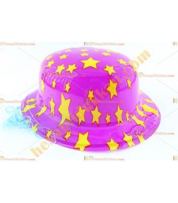 Toptan saçlı plastik parti şapkası mor sarı yıldız