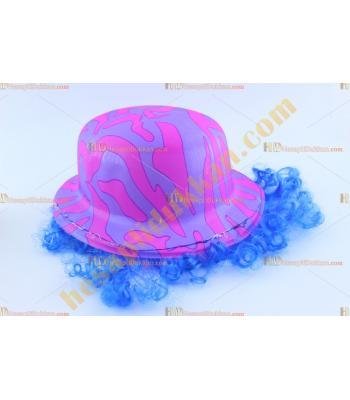 Toptan saçlı plastik parti şapkası pembe mor safari