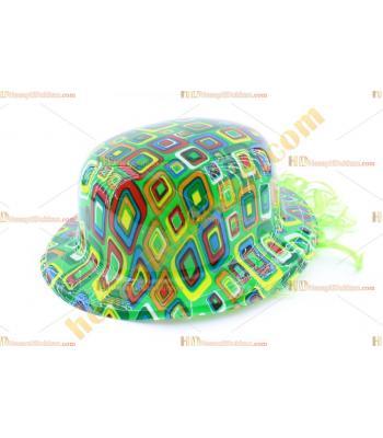Toptan saçlı plastik parti şapkası yeşil kareli