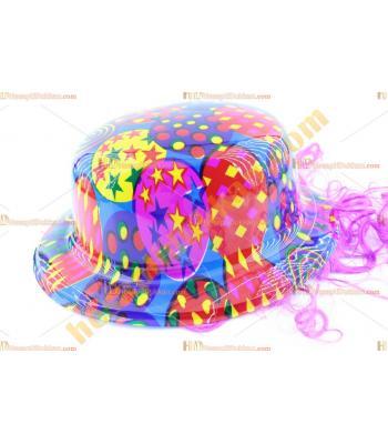 Toptan saçlı plastik parti şapkası yıldızlı gülen yüzlü