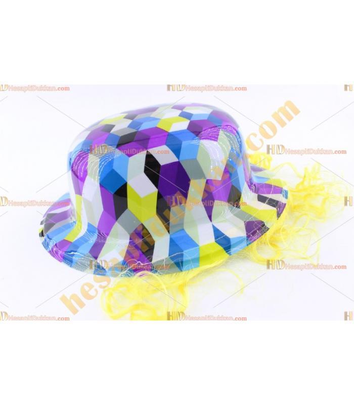 Toptan saçlı plastik parti şapkası karışık renk kareli