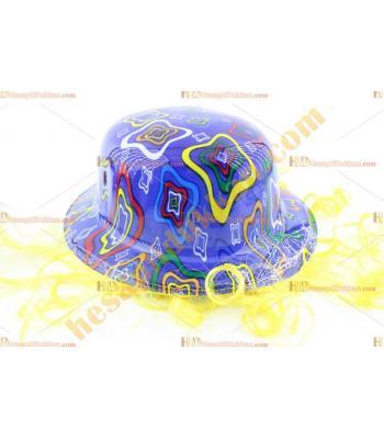 Toptan saçlı plastik parti şapkası mavi renkli kareli