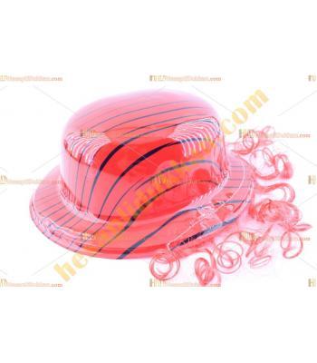 Toptan saçlı plastik parti şapkası kırmızı siyah çizgili
