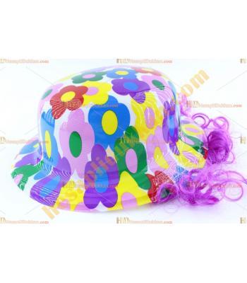 Toptan saçlı plastik parti şapkası karışık renk çiçekli