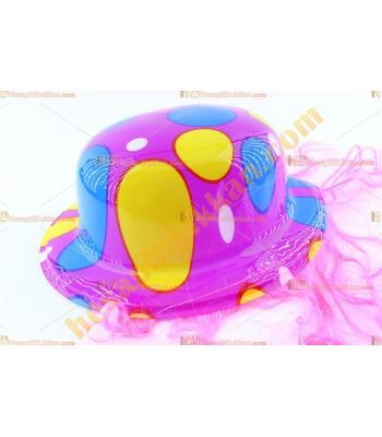 Toptan saçlı plastik parti şapkası mor mavi kırmızı balon