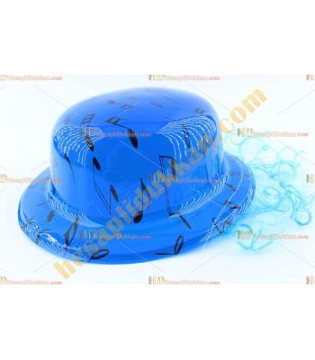 Toptan saçlı plastik parti şapkası mavi siyah notalı