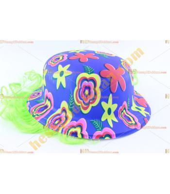 Toptan saçlı plastik parti şapkası çiçekli mavi
