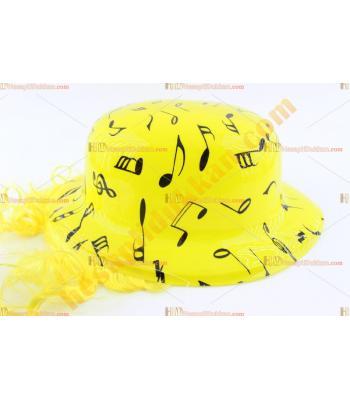 Toptan saçlı plastik parti şapkası sarı siyah notalı