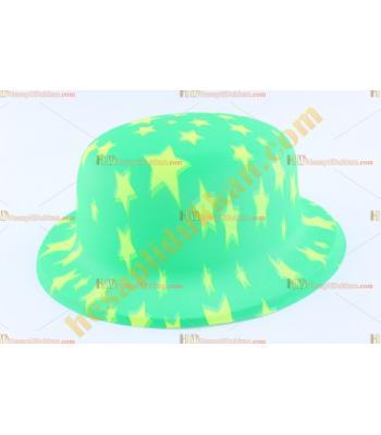 Toptan plastik parti şapkası yeşil sarı yıldız