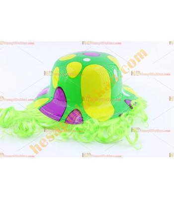 Toptan saçlı plastik parti şapkası mor sarı yeşil