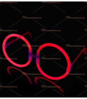 Glow ışıklı gözlük yuvarlak kırmızı