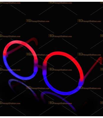 Glow ışıklı gözlük yuvarlak mavi kırmızı
