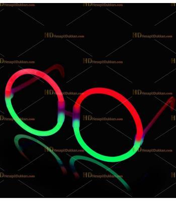 Glow ışıklı gözlük yuvarlak yeşil kırmızı