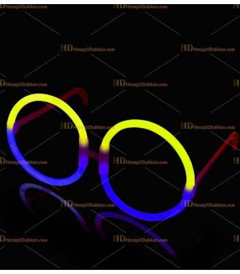 Glow ışıklı gözlük yuvarlak sarı mavi
