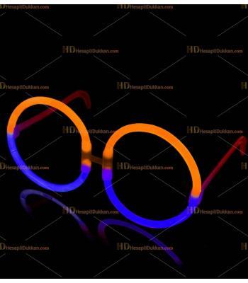 Glow ışıklı gözlük yuvarlak mavi turuncu