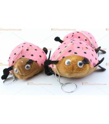 Toptan pembe uğur böceği hediyelik makine peluş anahtarlık