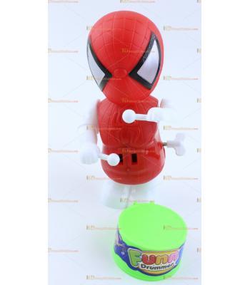 Toptan trampet davul çalan oyuncak kurmalı örümcek adam kırmızı