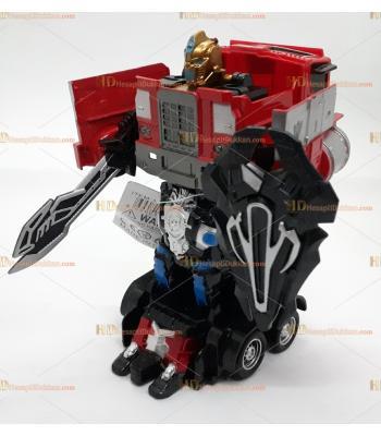 Toptan robot olan savaşçı kamyonet metal ışıklı sesli oyuncak