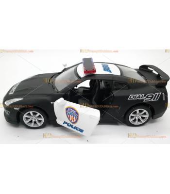 Toptan siyah polis arabası oyuncak metal çek bırak