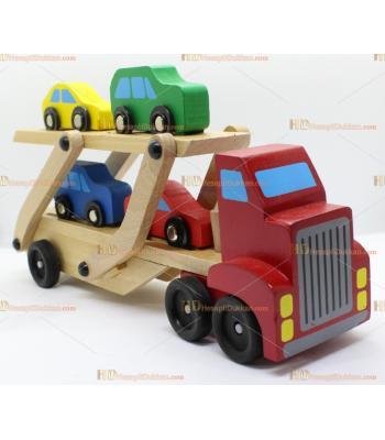 Toptan ahşap araç taşıyıcı tır iki katlı eğitici oyuncak