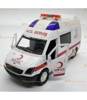 Toptan oyuncak sesli ışıklı ambulans çek bırak metal küçük