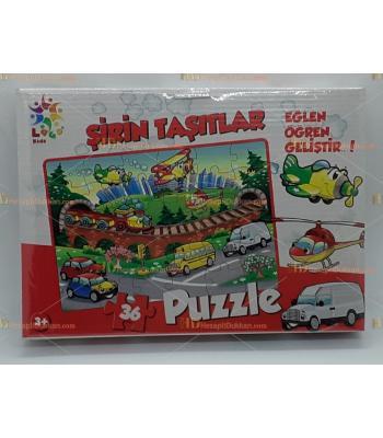 Toptan şirin taşıtlar puzzle 70 parça