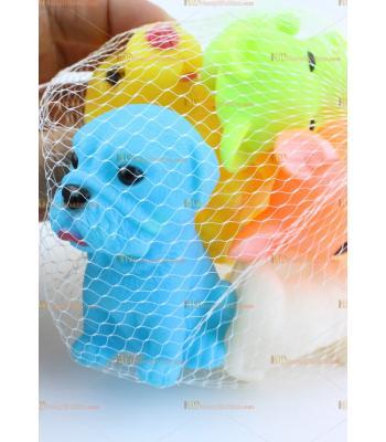 Toptan yumuşak vinil köpek oyuncak seti fileli