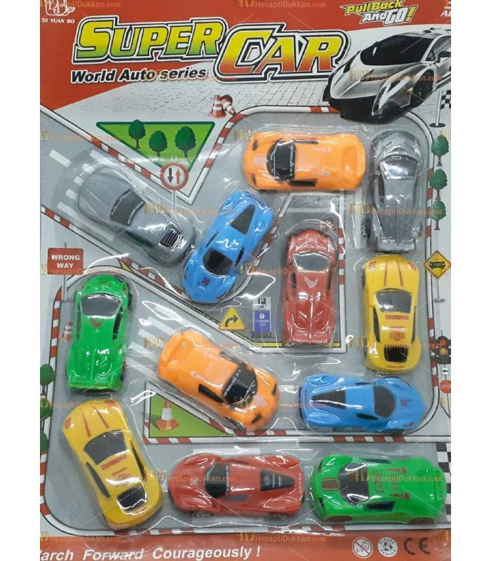 Toptan promosyon oyuncak 12 li yarış araba seti