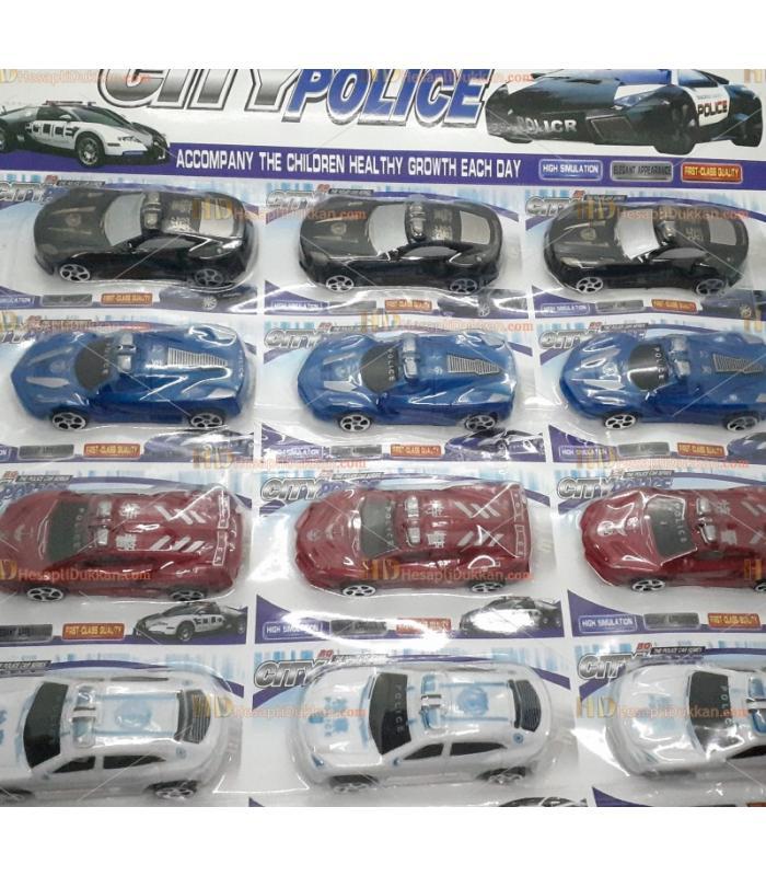 Toptan promosyon oyuncak 12 li polis araba set