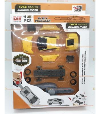 Toptan oyuncak anahtar takmalı fırlatmalı lego araba sarı