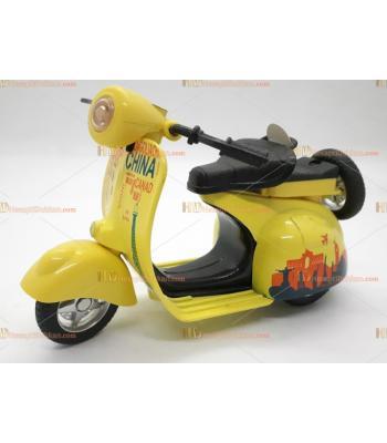Toptan oyuncak çek bırak metal sesli ışıklı motosiklet sarı