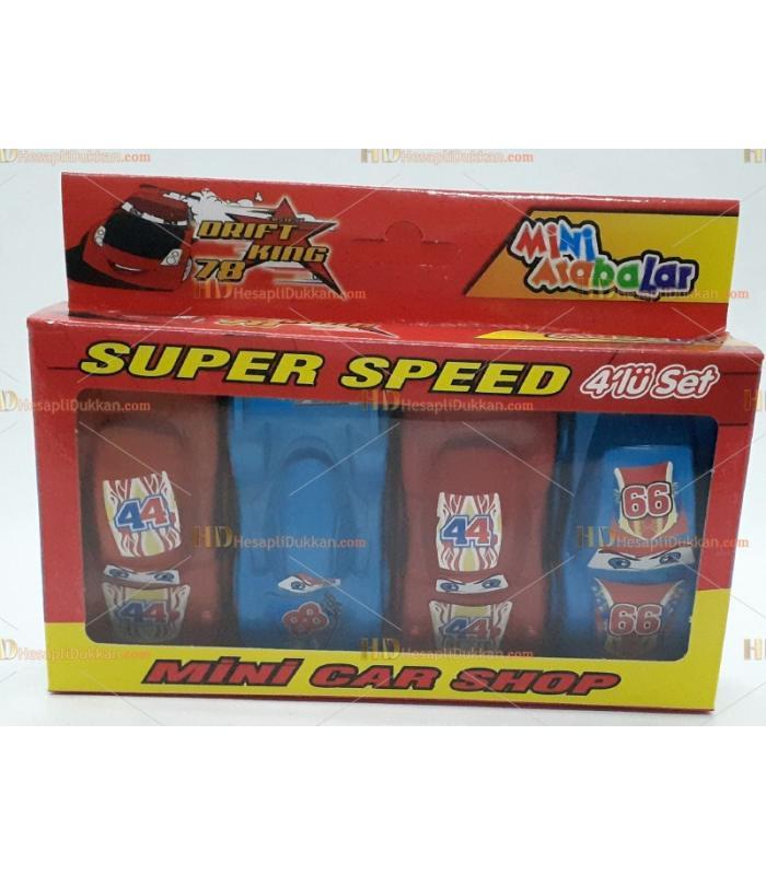 Toptan 4 lü mini arabalar seti kutulu oyuncak
