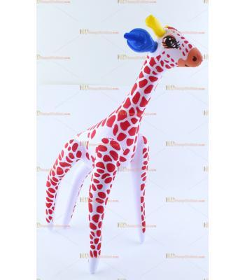 Toptan plastik hayvan şişme balon zürafa kırmızı beyaz