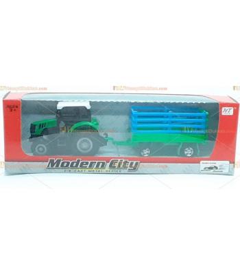 Toptan oyuncak saman taşıma römork çek bırak metal traktör