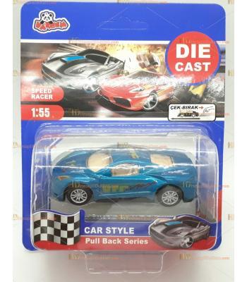 Toptan oyuncak araba spor çek bırak metal yeşil