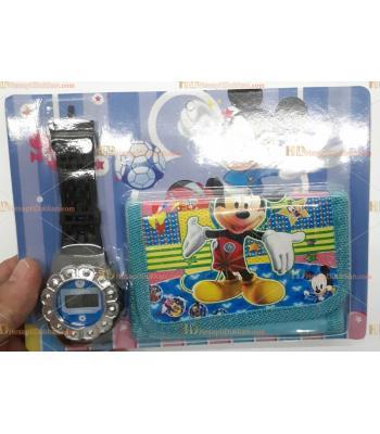 Toptan çocuk saat cüzdan set miki 2