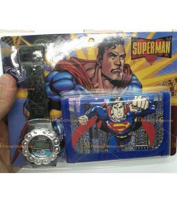 Toptan çocuk saat cüzdan set superman