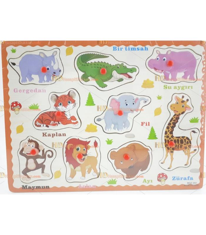 Ahşap tutmalı puzzle hayvanlar Türkçe toptan fiyat
