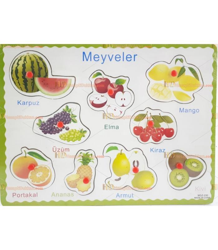 Ahşap tutmalı puzzle meyveler Türkçe toptan fiyatı