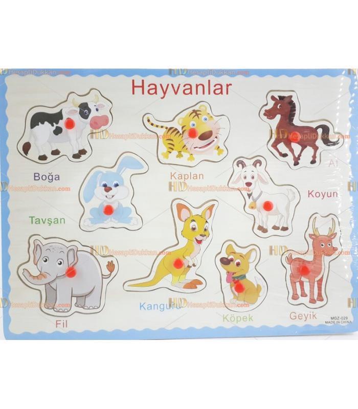 Hayvanlar serisi 4 Türkçe eğitici oyuncak yapboz