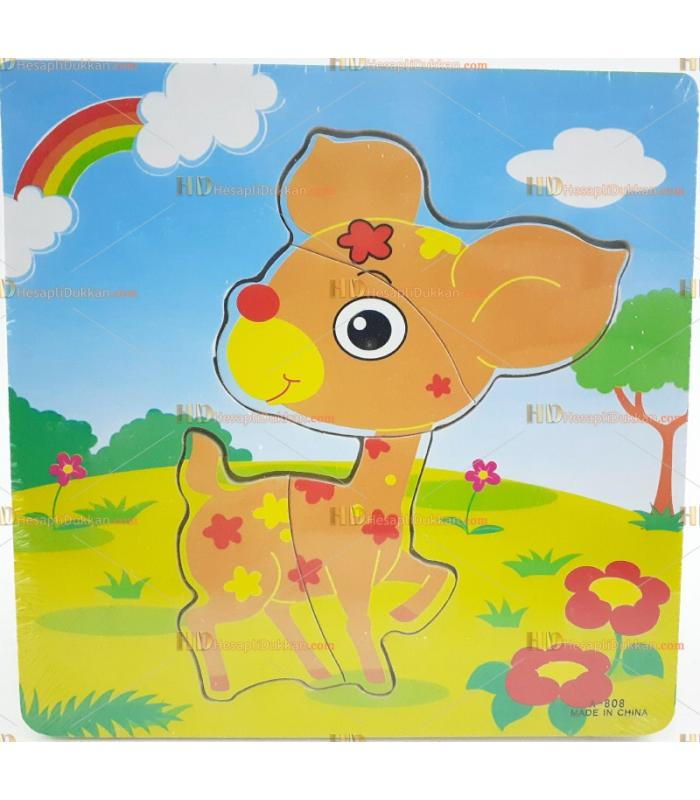 Toptan yapboz puzzle ahşap oyuncak sevimli ceylan