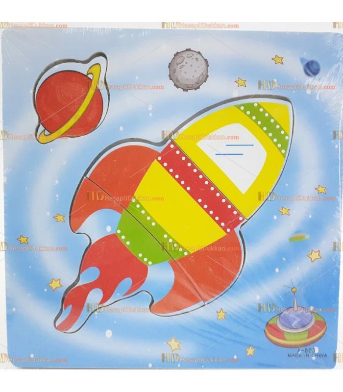 Toptan yapboz puzzle ahşap oyuncak uzay roketi
