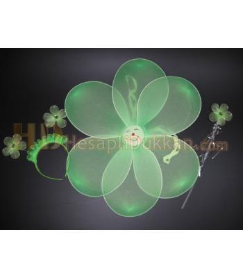 Papatya kanat taç asa set yeşil toptan oyuncak