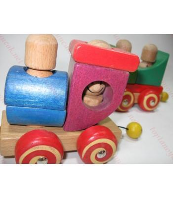 Ahşap zeka oyuncağı tren toptan