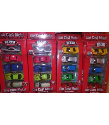 Toptan oyuncak 5 li araba seti metâl