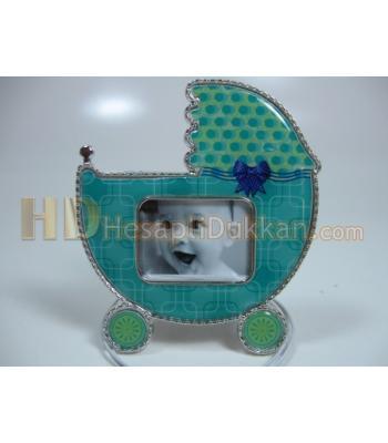 Bebek arabası şeklinde çerçeve bebek magnet buzdolabı süsü